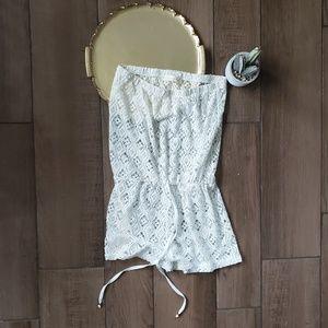 Francescas crochet lace eyelet romper swim cover